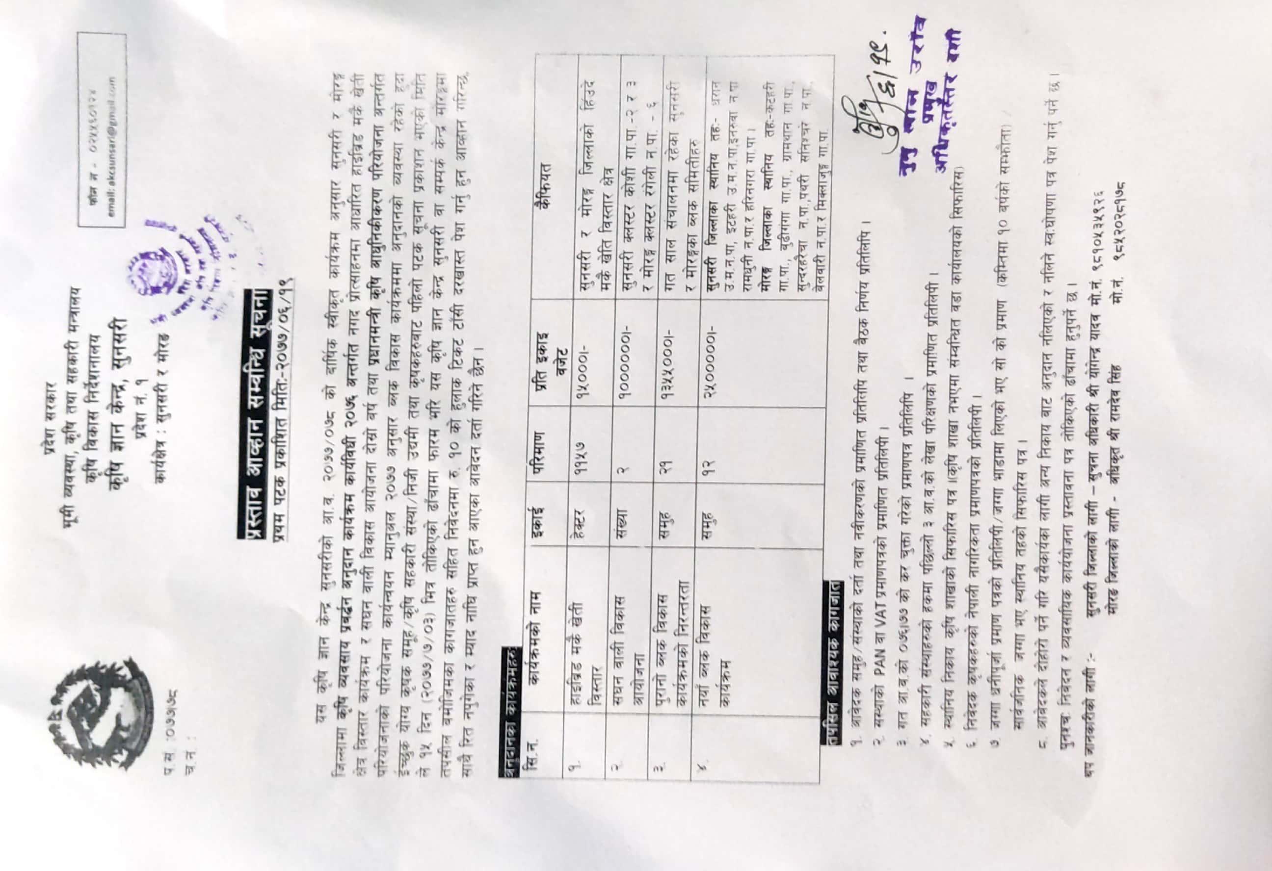 कृषि ज्ञान केन्द्र सुनसरीको प्रस्ताव आव्हान सम्बन्धी सूचना।